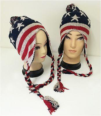 Winter Hat Knit American Flag US Beanie Earflaps Insulated Fleece Lined Ski (Winter Ski Beanie Earflap)