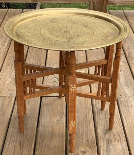 Middle Eastern Antique Table W/Brass Tray Hand Carved 6 Leg Folding Base Inlay - $159.99
