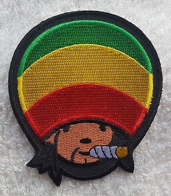 BOB MARLEY RASTA HAT CANNABIS PATCH Cloth Badge/Emblem Reggae Rastafarian (Bob Marley Hat)