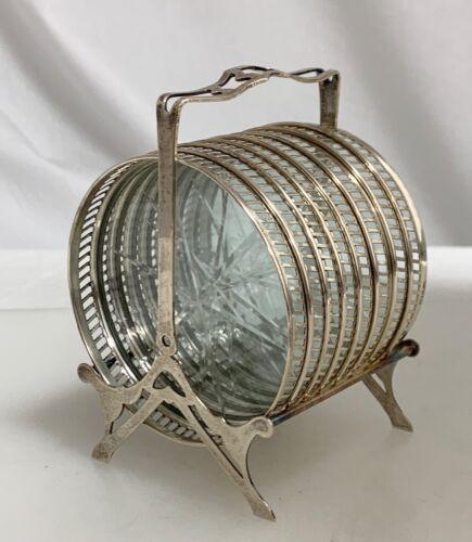 Vintage Sterling Silver Cut Glass Coaster Set of 8  -  59896