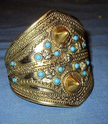 "Bracelet NEW Cuff Afghan Kuchi Tribal Alpaca Silver 3"" dia"