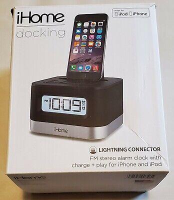 iHome IPL8BN Alarm FM Stereo Clock Radio Lightning Dock Connector iPhone iPod