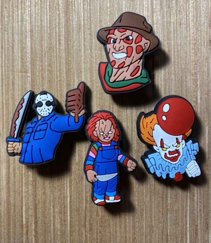 ~NEW~Lot Of 4 Charms-Freddy-Jason-Michael Myers-Chucky Perfect For Clogs Crocs