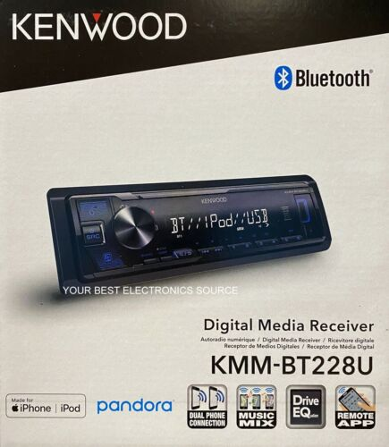 NEW Kenwood KMM-BT228U Digital Media Receiver, Bluetooth Pandora/Spotify Control