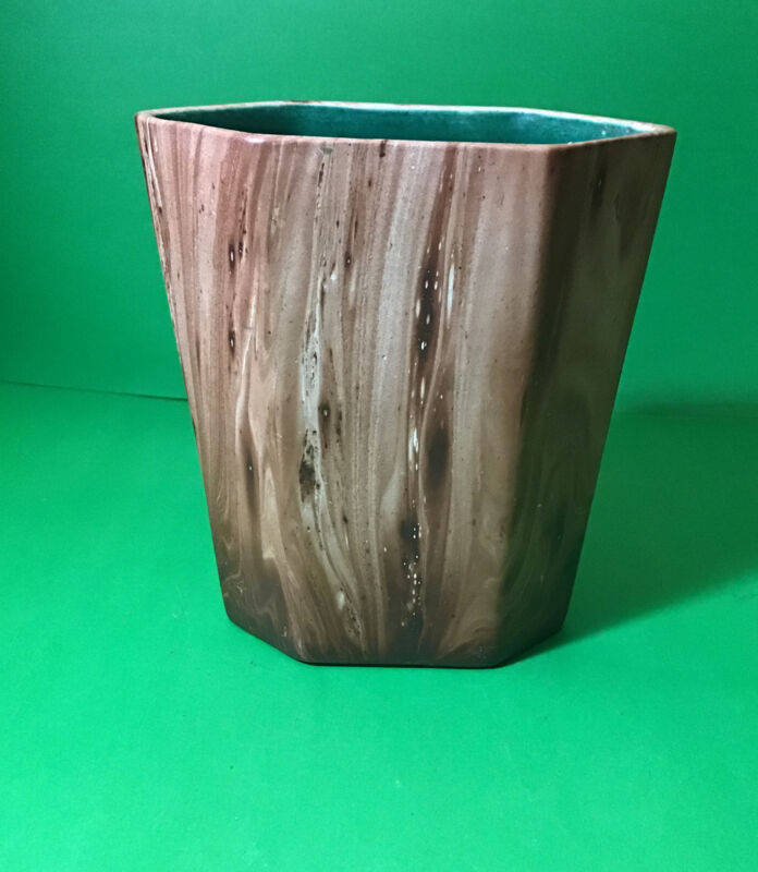 "Vintage Rocky Mountain Pottery Faux Wood Grain 6.25"" Vase 1950"
