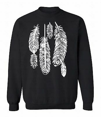 Native Americans Feathers - Feathers Crewneck Native American Sweatshirt Southwest Ethnic Indian Sweater