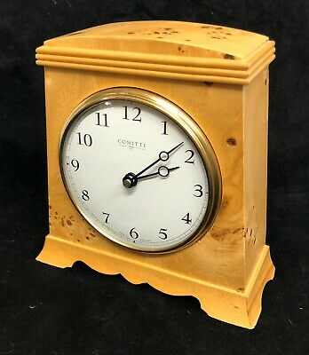 COMITTI Of LONDON Quartz Burr Maple Mantel Bracket Clock