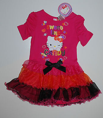 Kleid~USA~86-92~Hello Kitty~Halloween~Kürbis~Mädchenkleid~Tutu~pink~neu~Katze