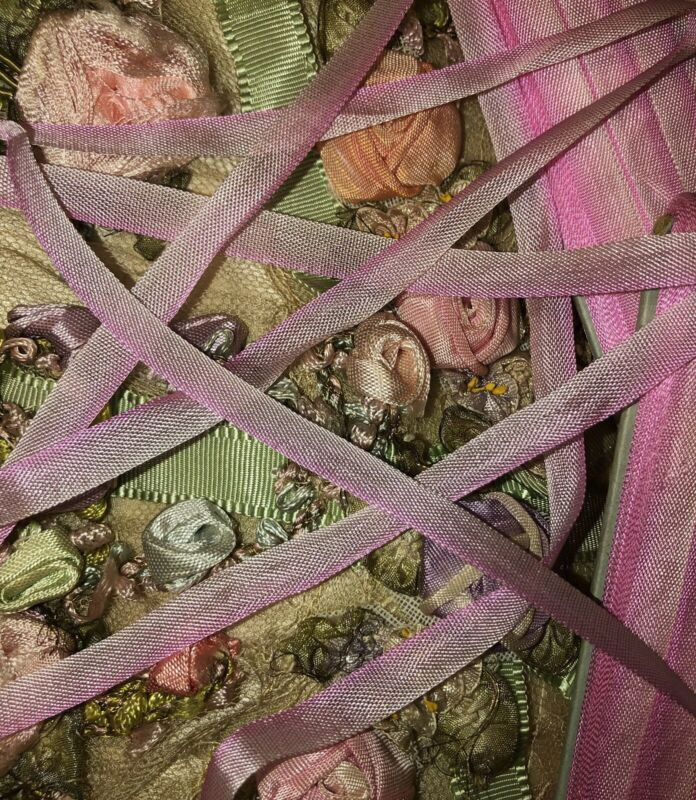 4 Yards  ANTIQUE VINTAGE French Ombre PINK Ribbon Trim 1/4""