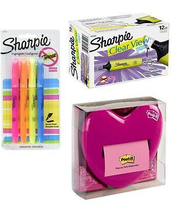 Sharpie Bundle Post-it Pop Up Heart Note Dispenser Highlighter Pack 124 Pens