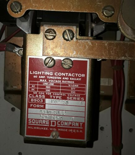 Square D 60 amp Lighting Contactor 8903 P02 S5 A, 480 VAC
