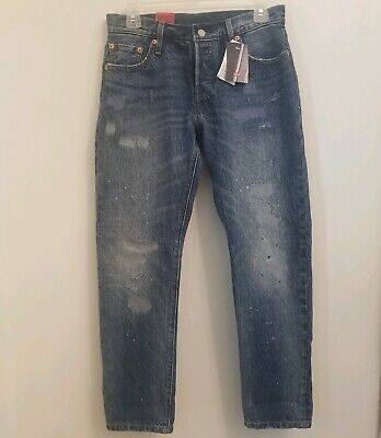 87d346d5 $198 Levi's 501 CT Womens 24 x 32 Distressed Button Fly Jeans Cropped  Tapered