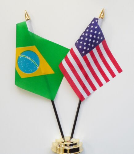 Brazil & United States of America Double Friendship Table Flag Set
