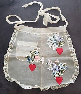 Vintage Aprons, Retro Aprons, Old Fashioned Aprons & Patterns Vintage Half Kitchen Apron -Sheer with Floral & Red Hearts - One Pocket $14.00 AT vintagedancer.com