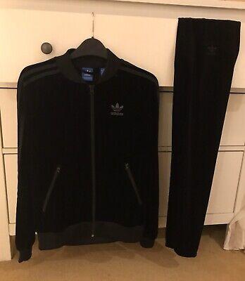 Adidas Velvet Velour Black Tracksuit Womens Ladies Size 8