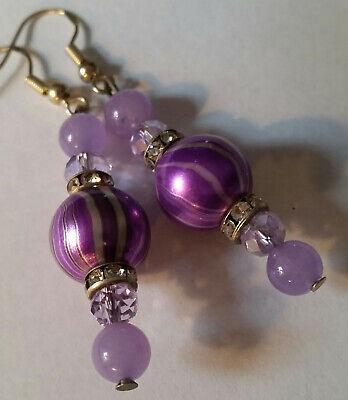 Purple 12mm Lampwork Crystal Glass Earrings - Sterling Hooks - Combined Shipping