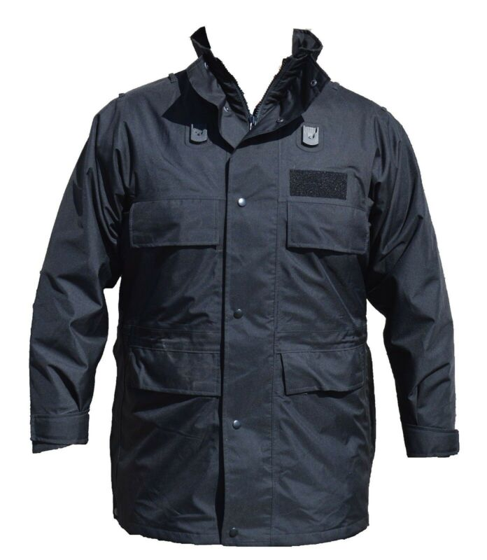 Polyester 3/4 Length Black Waterproof Rain Coat Security BPC01A