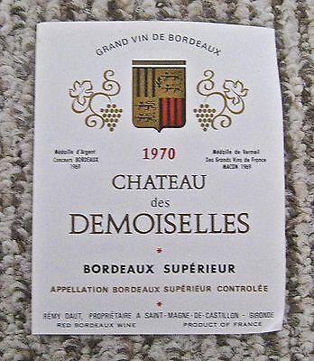 Vintage Wine Label 1970 Chateau des Demoiselles Grand Vin de Bordeaux