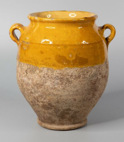 Large Antique 19th Century French Yellow Confit Pot Crock Vase Jardiniere
