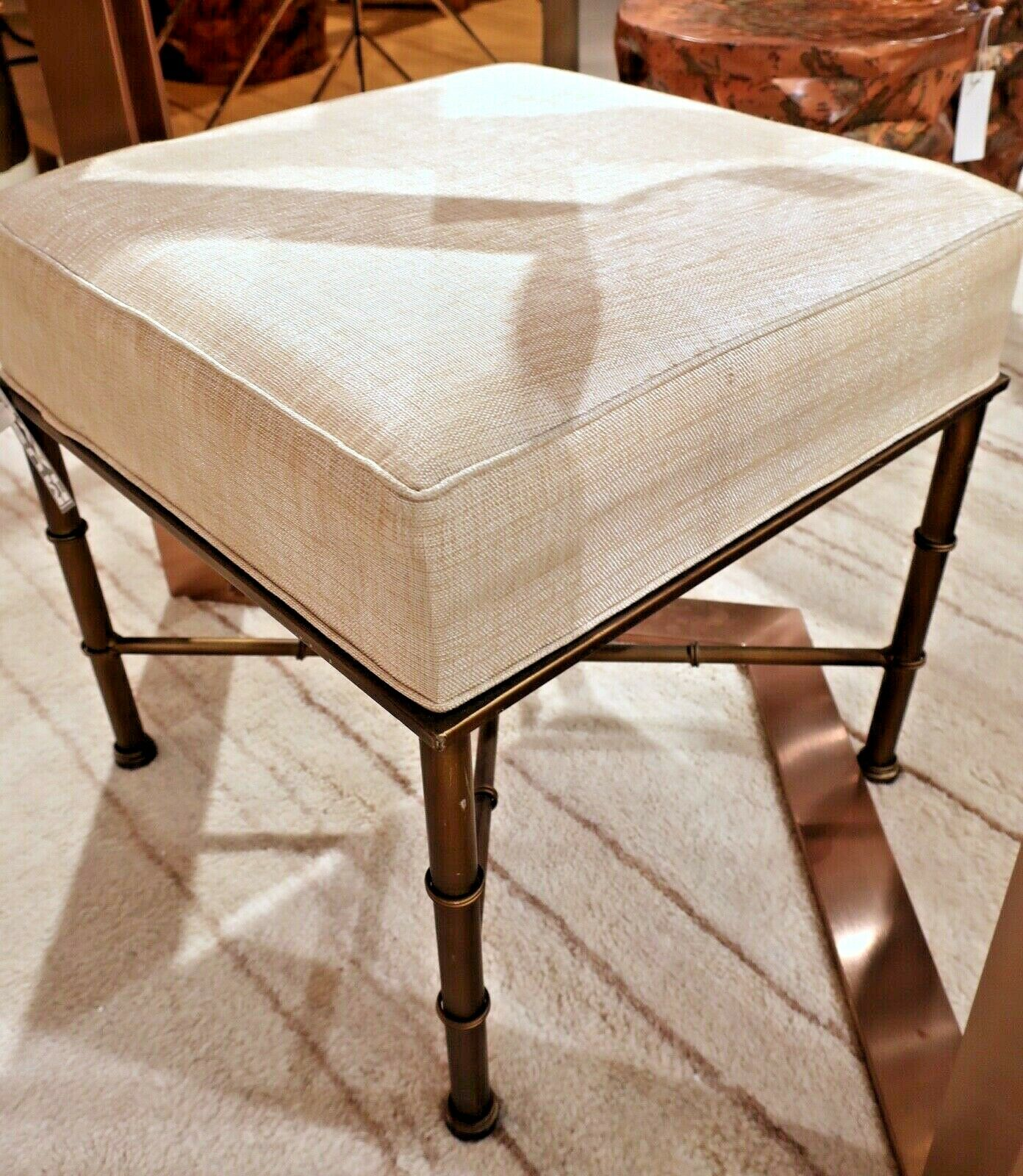 New Gold Bamboo Chinoiserie Ottoman Stool Bench Linen Fabric