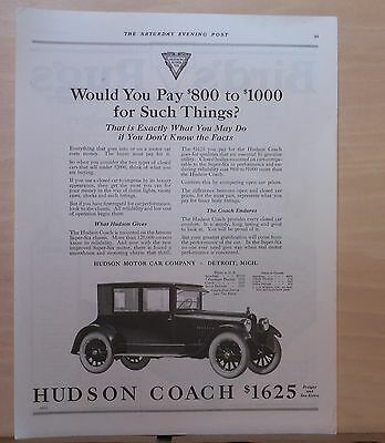1922 magazine ad for Hudson Coach - Closed car, compare prices & features