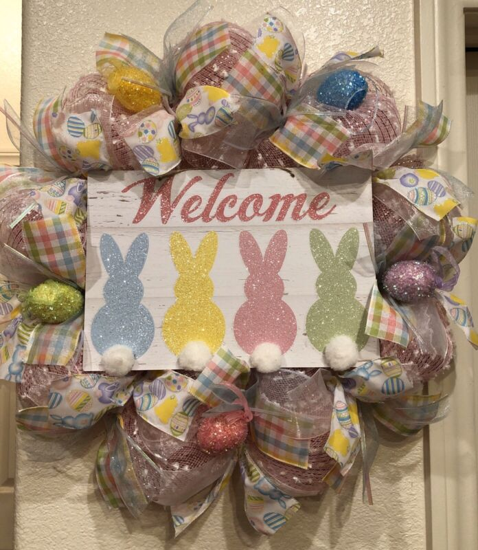 "SPRING WELCOME Wreath 🐰 PINK DECO MESH Pastel EASTER BUNNY Eggs 24"" X 24"" CUTE!"