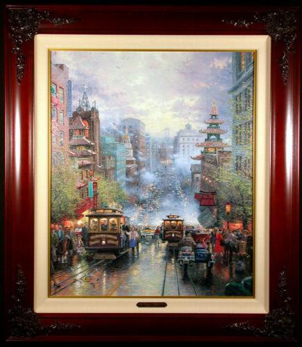 "Thomas Kinkade, ""A View Down California Street, Nob Hill"" Accent canvas, w/COA"