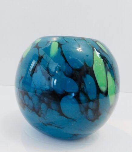 VTG Blue Black Green Swirl pattern Vase Abstract Home Decor