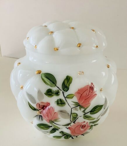 """Antique Consolidated Quilted Rose Decorated Milk Glass Covered Biscuit Jar 7"""""""