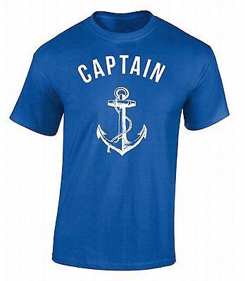 Captain T-SHIRT Anchor Nautical Sea Sailor Ship Marine Fashion Cool Gift Shirt