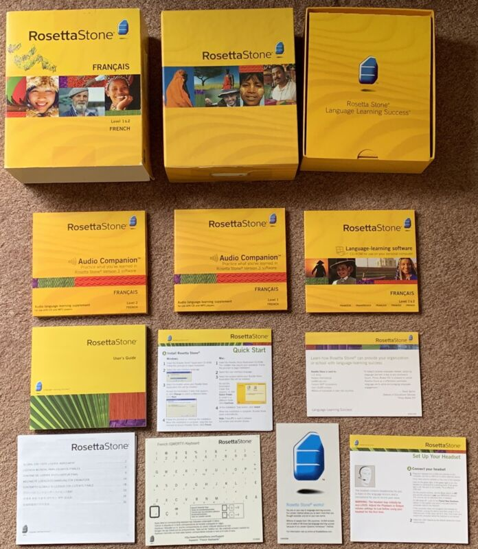 ROSETTA STONE French Version 3 ~ Level 1 & 2 With All Discs & All Instructions