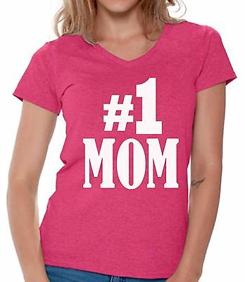 Number 1 Mom V-neck Shirts T shirts for Women  Gift for Best Mom In The