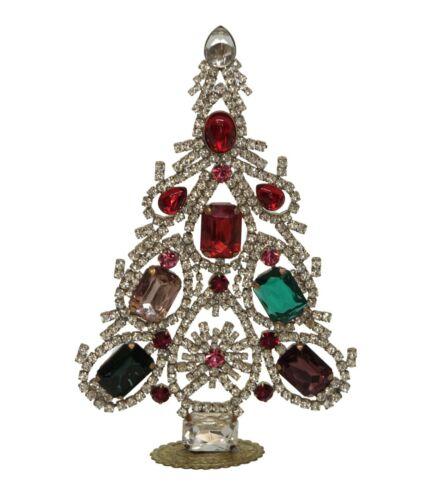 Free standing vintage rhinestone Christmas tree - Prong Set Stones  (# 14454)