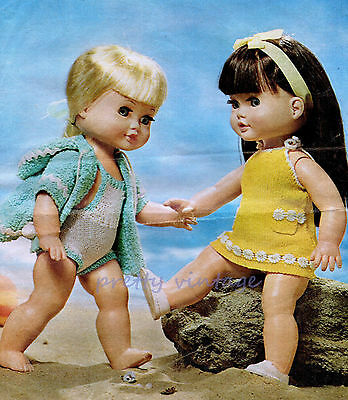 "KNITTING PATTERN TO MAKE 14"" VINTAGE DOLLS CLOTHES  SWIMSUIT BEACH WRAP DRESS"