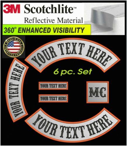 REFLECTIVE 6 PIECE SET CUSTOM EMBROIDERED ROCKER PATCH 3M® MOTORCYCLE BIKER USA