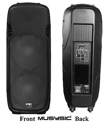 "MUSYSIC Professional 2000W Active Dual 2x15"" Speaker PA DJ System BT/USB/SD/FM"