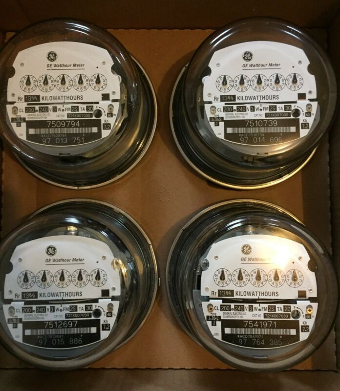 GE, WATTHOUR METER KWH, I-70S, 240V, FM2S, 200A, 4 LUG, 3W, ZERO RESET, LOT OF 4