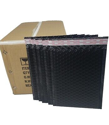 Pack 150 Inbox 7 X 9 Inches Black Poly Padded Bubble Mailing Mailers Envelopes