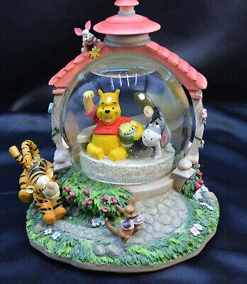 Disney Winnie the Pooh Music Box Snow Globe Pooh & Eeyore in Gazebo Tigger