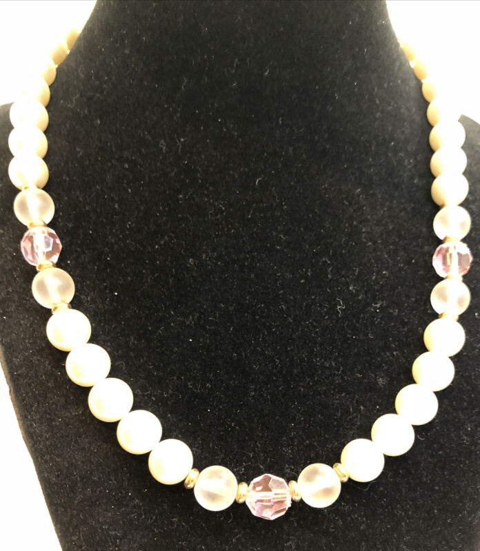 Napier  White Faux Pearls  3 Pink ,  6  Clear Beads  Necklace  18 Inch