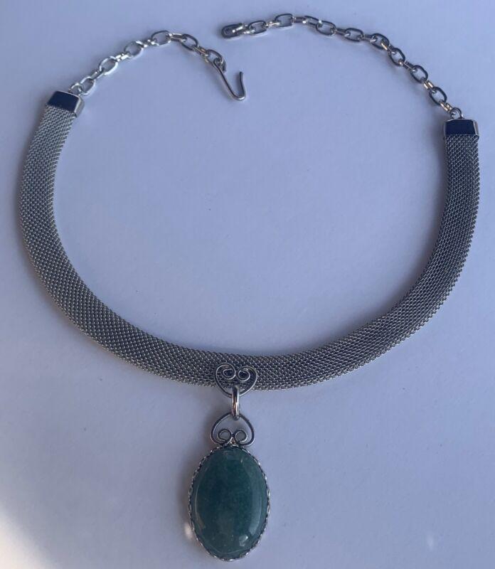 Vintage Oval Green Aventurine Filigree Pendant Mesh & Chain Choker Necklace