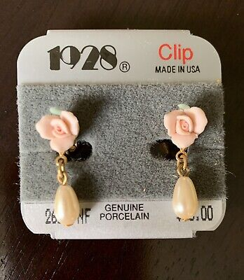 Vintage 1928 Genuine Porcelain Rose And Pearl Drop Earrings New With Package