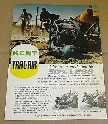 Vintage Kent Air Tool Co. Trac-air Pto Truck Compressors 1 Page Brochure Free Sh