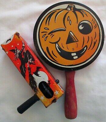 2 Vintage Halloween Tin Litho Noisemakers Kirchhof & US Metal Toy RARE!