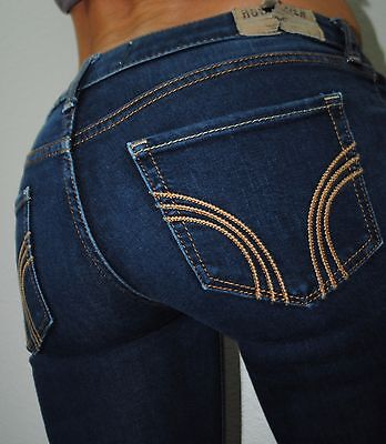 HOLLISTER SKINNY STRAIGHT STRETCH  BLUE LOW RISE  DENIM JEANS SIZE 3 3S 26 X 28