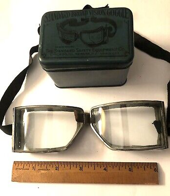 """Antique Goggles :With tin: """"Standard Broad Vision""""Steampunk """" Style. Vintage"""