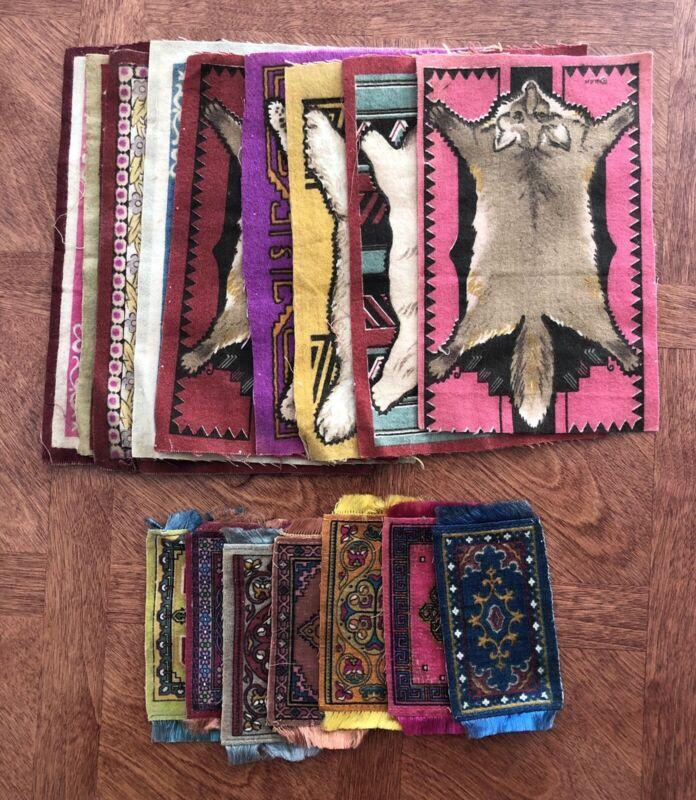 Lot of 16 Antique Cigarette Tobacco Flag Rug Flannel Quilt Felts-Native American