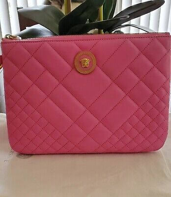 Pink Versace Leather Pouch/Wristlet
