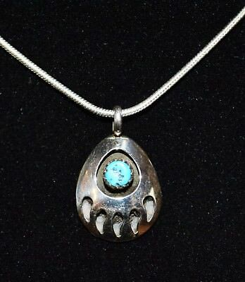 Necklace Bear Paw Shadow Box Turquoise Sterling Silver Navajo With Free Chain
