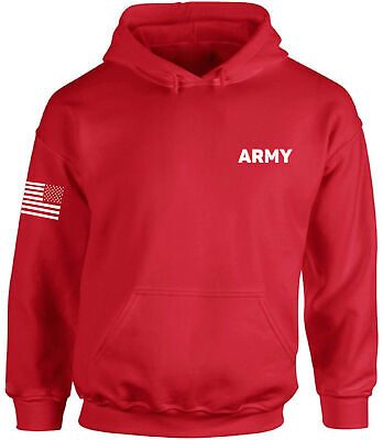 Army Hooded Sweatshirt Army Military Hoodie with Flag on Sleeve Patriots Gifts Army Logo Hooded Sweatshirt
